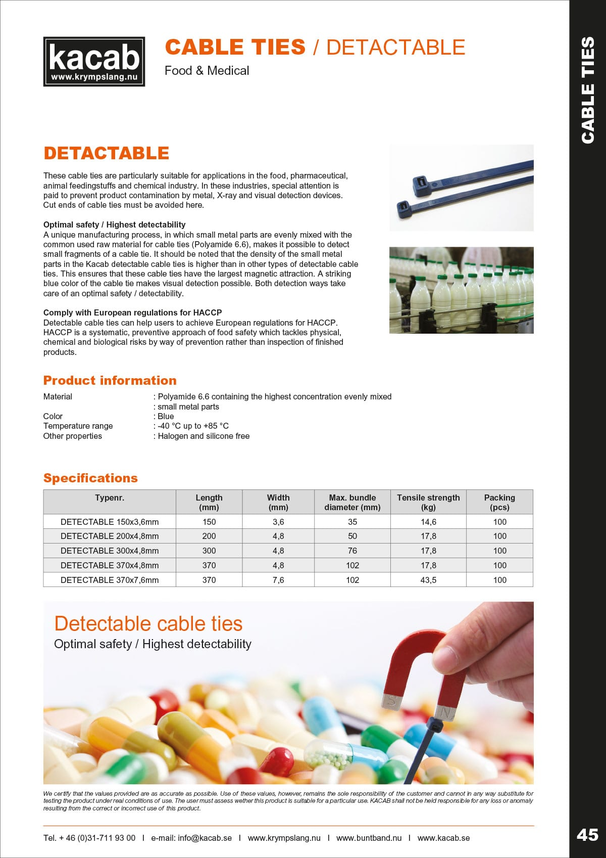 Detactable cable ties